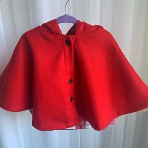Size 12-18m cherry red baby cape NWT